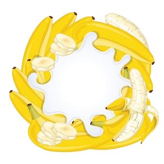 Yogurt splash isolated with banana