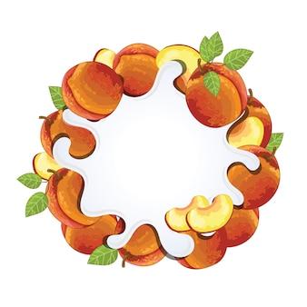 桃で分離されたヨーグルトスプラッシュ