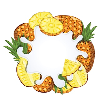 Yogurt splash isolated with pineapple