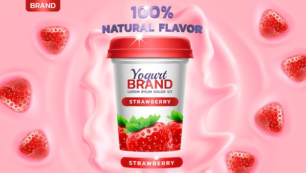 Yogurt splashing and floating strawberry