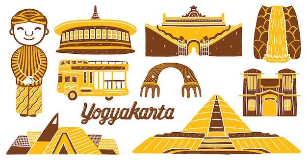 Yogyakarta city landmark in flat design style