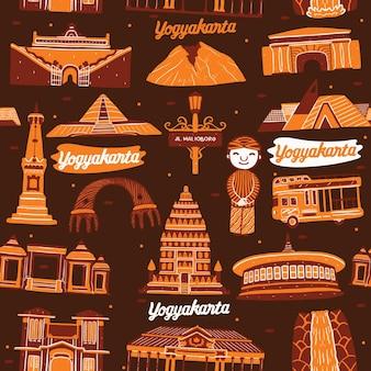 Yogyakarta city seamless pattern with landmarks elements