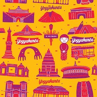 Yogyakarta city seamless pattern with landmarks elements Premium Vector
