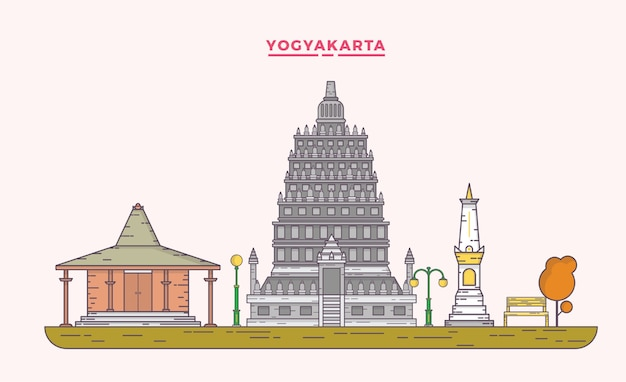 Yogyakarta landscape flat line