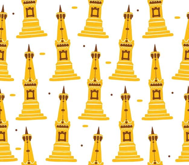 평면 디자인 스타일의 족자카르타 기념물 원활한 패턴