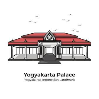 Yogyakarta palace indonesian landmark cute line illustration Premium Vector