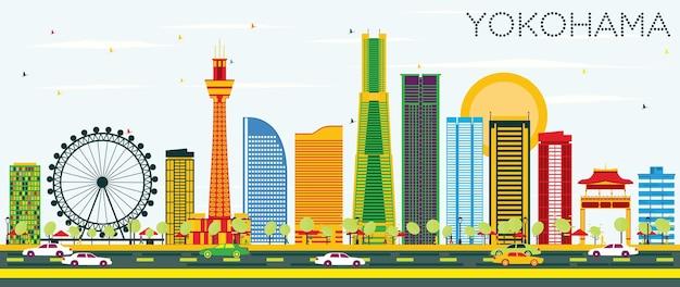 컬러 빌딩과 푸른 하늘이 있는 요코하마 스카이라인. 벡터 일러스트 레이 션. 현대 건축과 비즈니스 여행 및 관광 개념입니다. 프레젠테이션 배너 현수막 및 웹사이트용 이미지.
