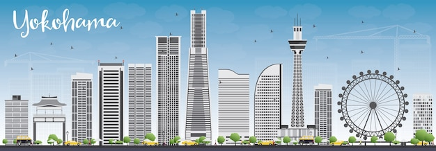 Yokohama skyline with gray buildings and blue sky. vector illustration. business and tourism concept with modern buildings. image for presentation, banner, placard or web site.