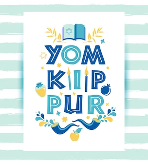 Yom kippur greeting card with candles, apples and shofar and symbols. jewish holiday  illustration on white.