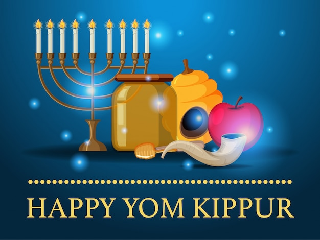 Yom kippur logo greeting card template or background