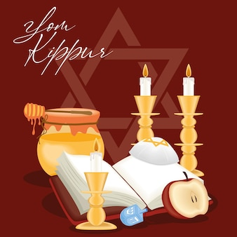 Yom kippur postcard with icons