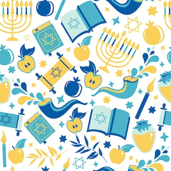 Yom kippur seamless pattern with candles, apples and shofar and sybols. jewish holiday background.  surface print illustration on white.