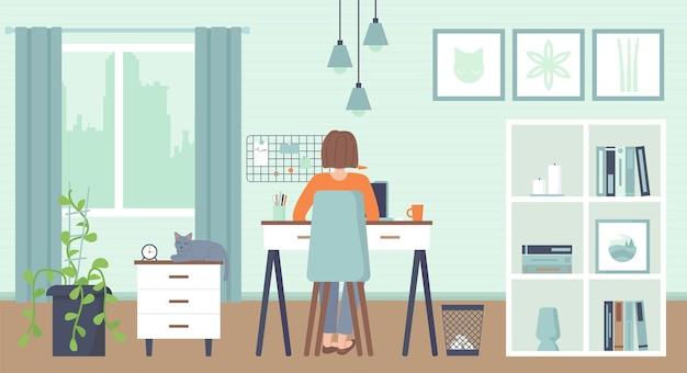 コンピューターに座っているヨン女性ホームオフィス働くフリーランスのリモートワークの概念