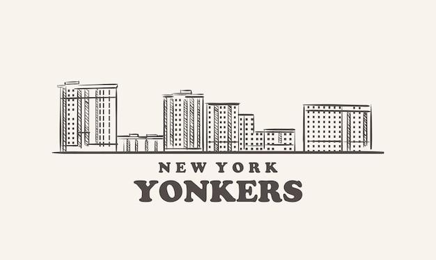 Yonkers 스카이 라인 뉴욕 그린 된 스케치