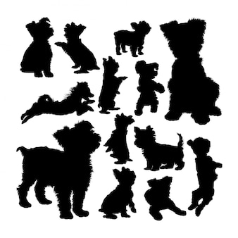 Yorkshire terrier dog animal silhouettes