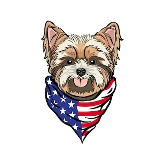 Голова собаки йоркширского терьера в бандане на шее американского флага