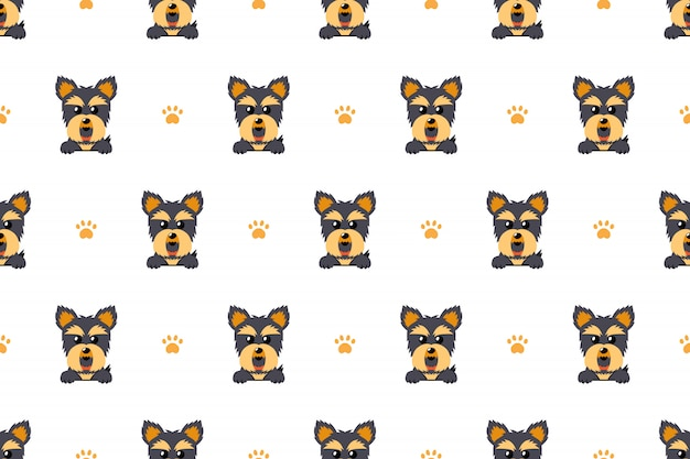 Yorkshire terrier dog seamless pattern