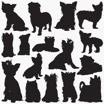 Yorkshire terrier dog silhouettes