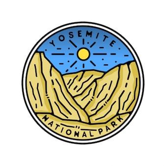 Yosemite national park monoline vintage outdoor badge design