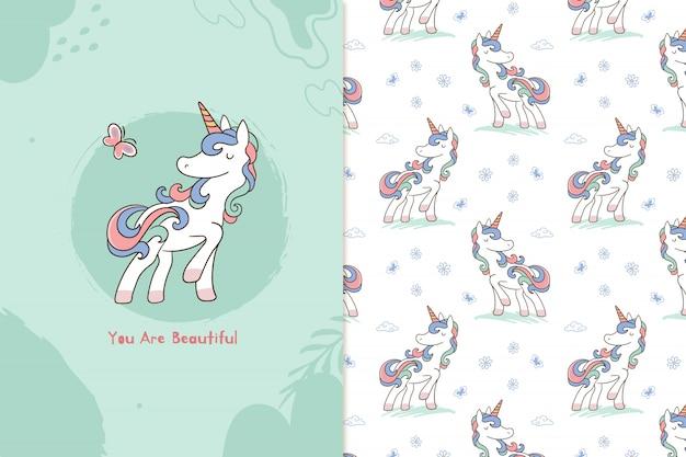 You are beautiful unicorn seamless pattern