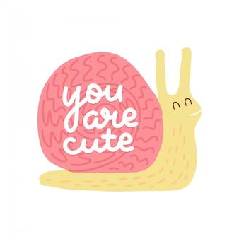 あなたはかわいい-カタツムリのイラストが引用をレタリングします。ピンクのカタツムリとフラットカラー落書きスタイルで手描きのテキストとセクターカード。