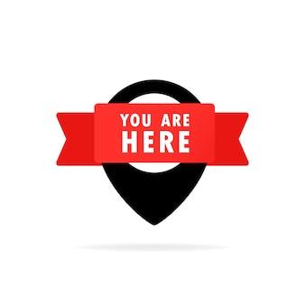 당신은 여기 포인터 아이콘입니다. 지도 또는 gps에서 위치를 알려주는 핀 아이콘.