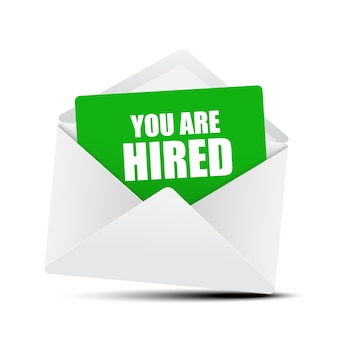 You are hired card in envelope