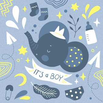 You are invited to baby shower for boy and elephant with hat