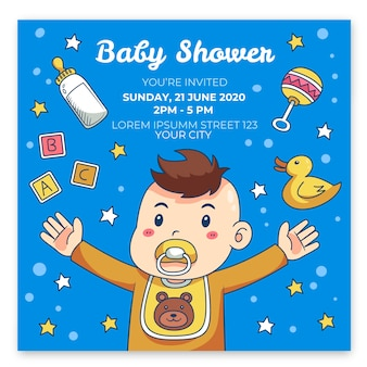 You are invited to baby shower for boy hugging
