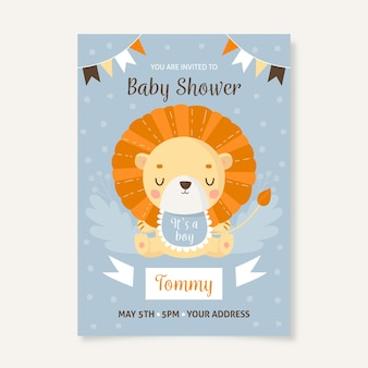 You are invited to baby shower for boy with lion