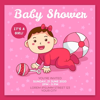 You are invited to baby shower for girl in pink tones
