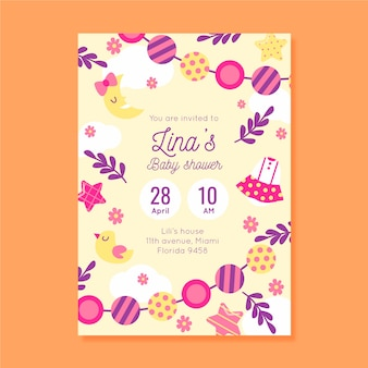 You are invited to baby shower for girl with candies