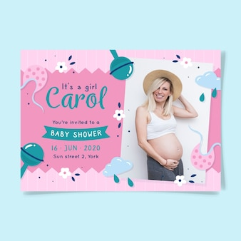 You are invited to baby shower for girl with mother
