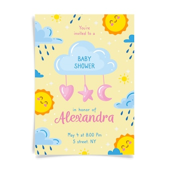 You are invited to baby shower for girl with sun and clouds