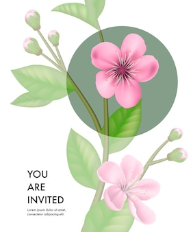 You are invited card template with transparent cherry flowers and green circle