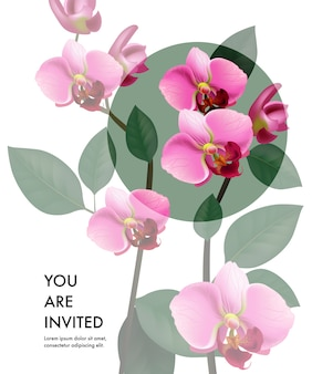 You are invited card template with transparent pink orchids and green circle Free Vector