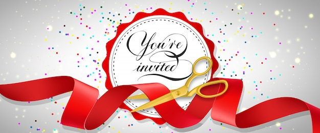 You are invited festive banner with confetti, text on white circle and gold scissors