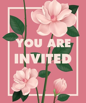 You are invited lettering with cherry flowers on pink background.