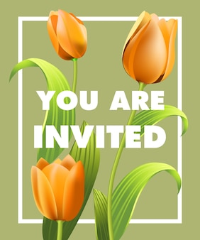 You are invited lettering with orange tulips on gray background.