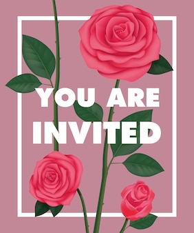 You are invited lettering with roses in frame on purple background.