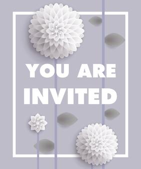 あなたは灰色の背景に枠内に白いタンポポを招待されたレタリングです。