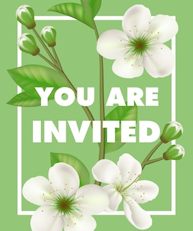 You are invited lettering with white flowers in frame on green background.