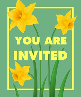 You are invited lettering with yellow narcissus on blue background.