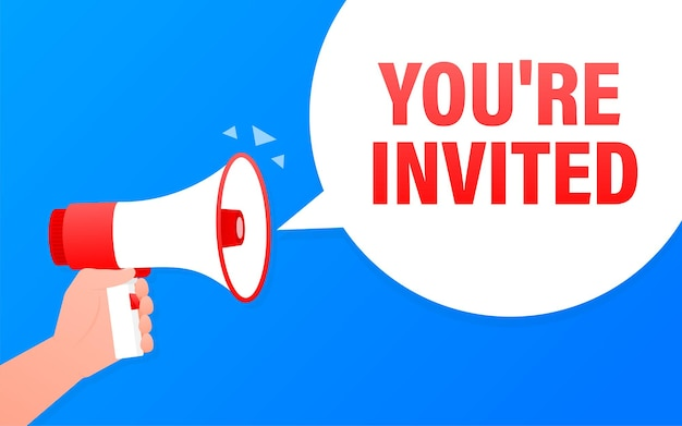 You are invited megaphone blue banner.   illustration.