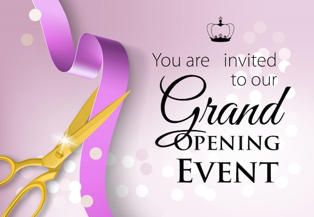 You are invited to our grand opening event lettering with crown