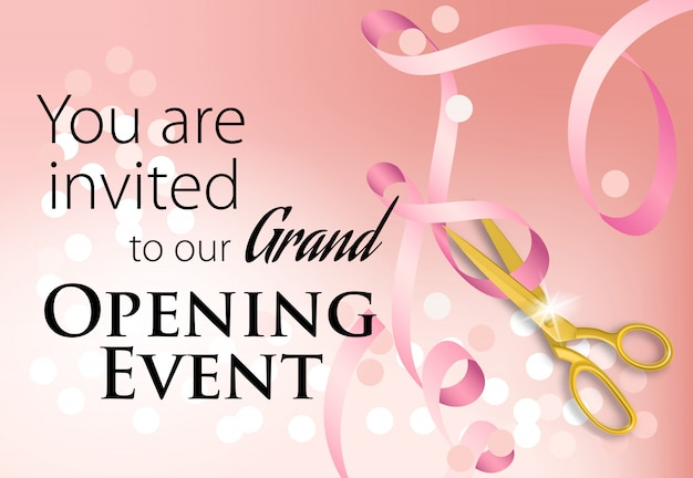 You are invited to our grand opening event lettering with ribbon