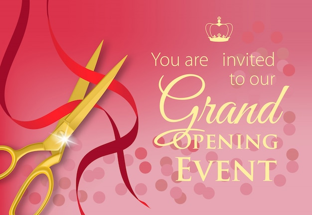 You are invited to our grand opening event lettering in yellow