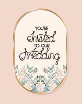あなたは葉のあるゴールドフレームで私たちの結婚式のテキストに招待されています