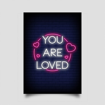 You are loved lettering in neon style.