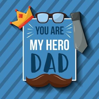 Ты мой герой папа карточный усы короны очки галстук